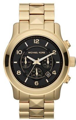 MICHAEL Michael Kors Michael Kors 'Pyramid Runway' Chronograph Watch, 45mm Gold/ Black