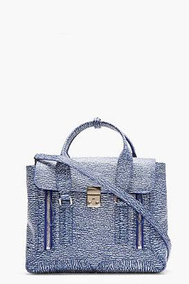 3.1 Phillip Lim Blue Textured Leather Medium Pashli Satchel