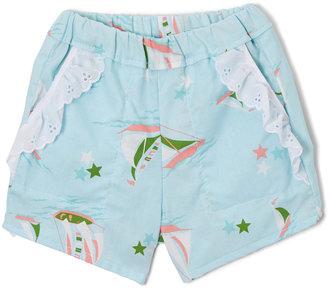 Light Blue Sailboat Lace-Accent Shorts - Infant & Toddler