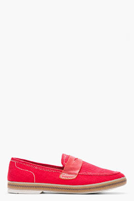 Hudson H BY Red canvas and leather Antara penny loafers
