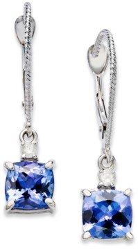 Macy's 14k White Gold Earrings, Tanzanite (2-1/5 ct. t.w.) and Diamond Accent Cushion Earrings