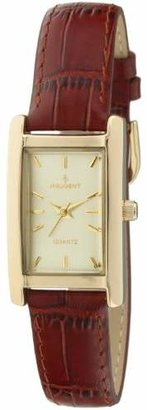 Peugeot Women's Classy 14K Gold Plated H Rectangle Case Leather Band Dress Watch 3007BR