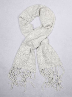 DKNY Hand Embroidered Flowers Scarf W Fringe