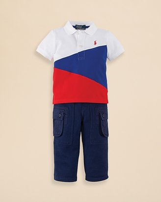 Ralph Lauren Infant Boys' Colorblock Polo & Cargo Pant Set - Sizes 9-24 Months