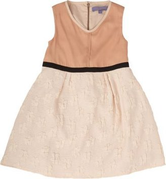 Lamantine Dress with Solid Bodice & Textured Skirt