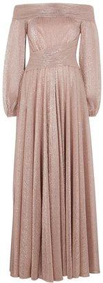Talbot Runhof Bonton Pink Metallic-weave Plisse Gown