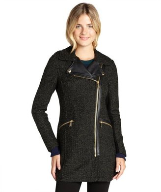 BCBGeneration olive wool blend boucle faux leather trimmed three quarter coat