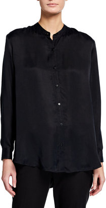Eileen Fisher Sandwashed Cupro Long Mandarin Collar Shirt