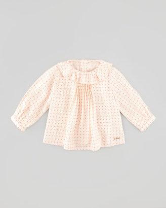 Chloé Floral-Print Soft-Twill Blouse, Rose, 3-18 Months