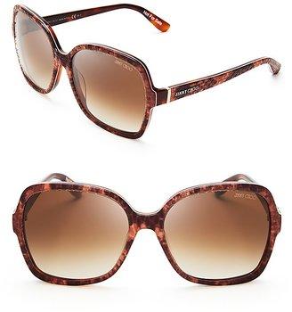Jimmy Choo Lori Python-Print Oversized Sunglasses