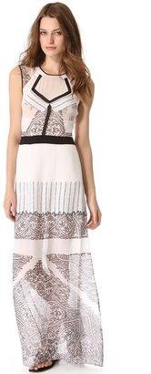 BCBGMAXAZRIA Lace Print Maxi Dress