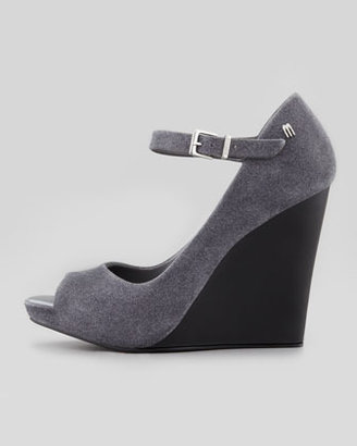 Melissa Shoes Prism II Mary Jane Wedge, Gray/Black