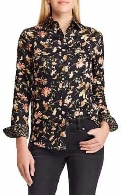 Chaps Petite Floral Cotton Button-Down Shirt