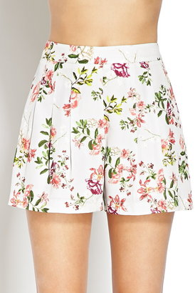 Forever 21 Floral Satin Pleated Shorts