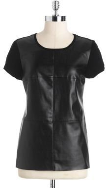 Vince Camuto Faux Leather Front Tee