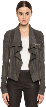 Rick Owens Classic Blistered Leather Biker Jacket in Dark Dust