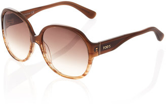 Tod's Round Striated Acetate Sunglasses, Brown