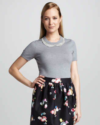 Kate Spade Tippy Embroidered-Collar Sweater, Gray Melange