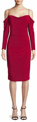 Laundry by Shelli Segal Cold-Shoulder Ruched Cocktail Dress