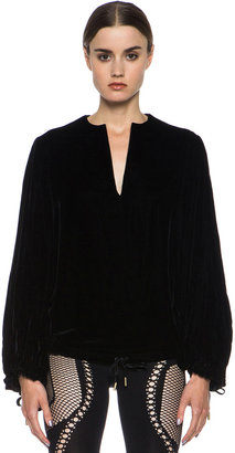 Alexander McQueen Velvet Top in Black