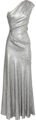 Donna Karan One-shoulder sequined stretch-mesh gown