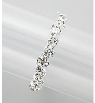 Givenchy Clear Stone and Silvertone Floral Bracelet