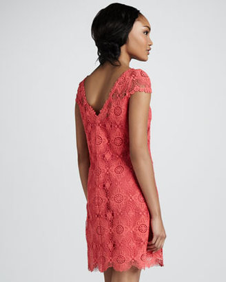 Ali Ro Crochet Cap-Sleeve Dress