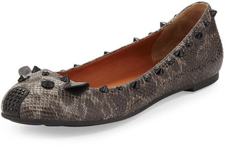 Marc by Marc Jacobs Snake-Embossed Studded Mouse Ballet Flat, Gray