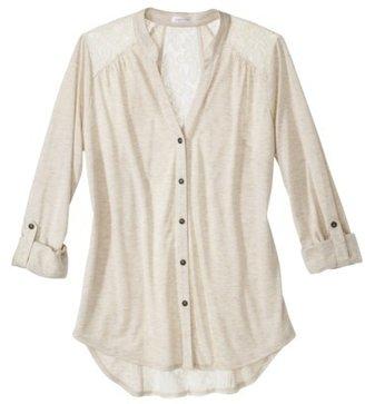 Xhilaration Junior's Lace Detail Button Down Shirt - Assorted Colors