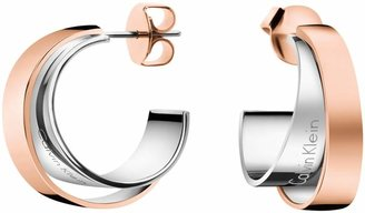 Calvin Klein - Silver And Rose Gold 'Unite' Hoop Earrings