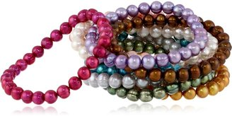 """Honora Set of 10 Multi-color Freshwater Cultured Pearl Stretch Bracelets 7.5"""""""