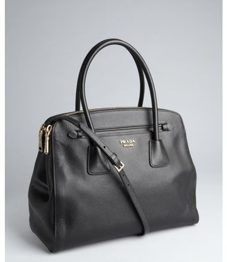 Prada black saffiano leather convertible top handle bag