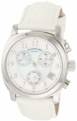 Stuhrling Original Women's 246.1115P7 Vogue Audrey Fiorenza Swiss Quartz Chronograph Swarovski Crystal Mother-Of-Pearl White Watch