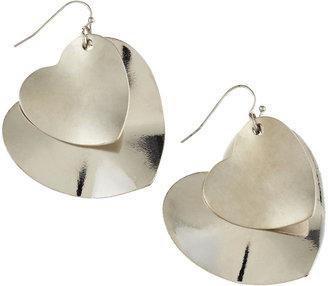 Greenbeads Double-Heart Earrings, Silvertone