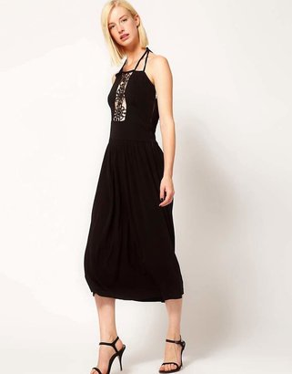 Sophia Kokosalaki Kore by Motif Lace Insert Midi Dress-Black