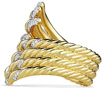 David Yurman Willow Open Four-Row Ring with Diamonds in Gold