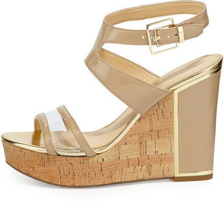 Ivanka Trump Hagley Cork Wedge Leather Sandal, Natural