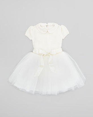 Ralph Lauren Sweater Dress with Tulle Skirt, Cream, Sizes 2T-3T