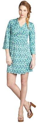 Julie Brown JB by blue brocade print stretch jersey knit 'Allison' bell sleeve dress