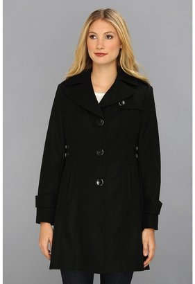 Kenneth Cole New York Single Breasted Button Wool Coat w/Side Tab Detail