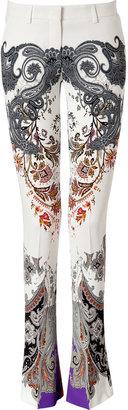 Etro White-Multi Paisley Print Flared Pants