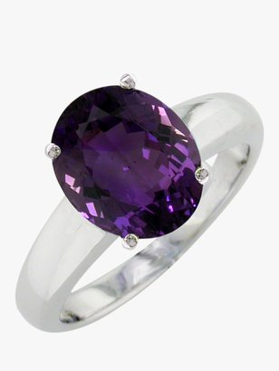 E.W Adams 9ct White Gold Large Amethyst Ring, White Gold