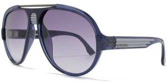 Diesel Brow Bar Aviator Sunglasses Clear Blue Grey DL0020 90X 58