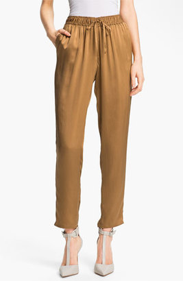 Elizabeth and James 'Gessler' Drawstring Silk Pants Womens Saddle Size Medium Medium