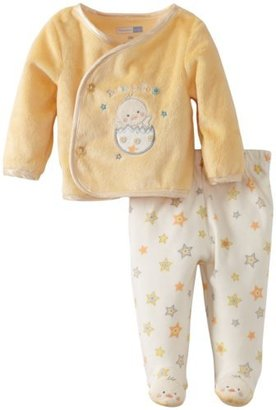 Vitamins Baby Unisex Newborn 2 Piece Footed Pant Set with A Cute Peek A Boo Applique
