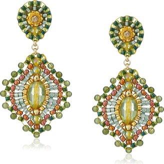 Miguel Ases Small Green Jade Lotus Drop Earrings