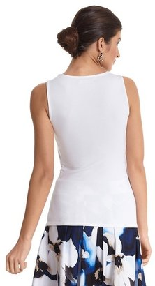 White House Black Market White Ruffle Front Sleeveless Top