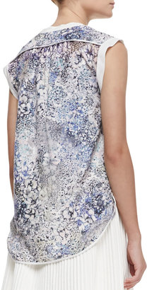 Rebecca Taylor Feathered Meadow Silk-Blend Short-Sleeve Top