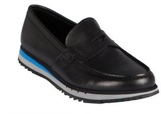Prada Sport black and cerulean leather athletic loafers