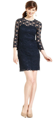 Eliza J Dress, Three-Quarter-Sleeve Tiered Lace Sheath